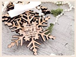 Save The Date Unique Invites Wooden SnowflakeWinter Wedding Magnets