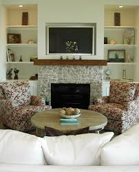 Living Room With Fireplace And Bookshelves by Reclaimed Wood Mantel Living Room Traditional With Art Arrangement