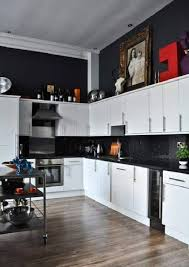 Double White Appliance In A Black And Kitchen Decor With Wooden Floor Portable
