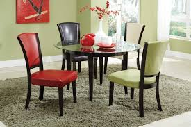 Furniture Rounded Glass Dining Table With Black Wooden Legs Decor Assorted Color Leather Upholstered Chairs Designs Top