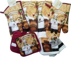 Home Store Chef Themed Kitchen Accessories Oven Mitts Towels Dish Cloths Pot Holders