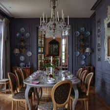 This Is An Example Of A Large Classic Enclosed Dining Room In London With Blue Walls