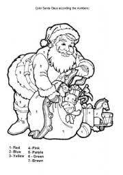 English Worksheet Christmas Coloring