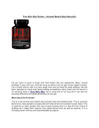 Pure Nitro Max Review Increase Muscle Mass Naturally Do You Want To Grow A Ingredients