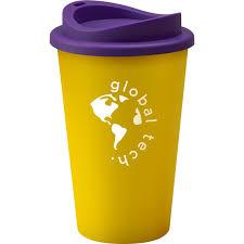Branded Reusable Universal Coffee Mug 350ml Yellow