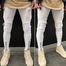 Mens Ripped Slim Fit Motorcycle Vintage Denim Jeans Hiphop Streetwear Pants