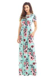 wholesale pocket design short sleeve mint floral maxi dress