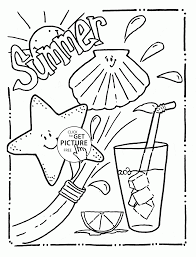Tasty And Funny Summer Coloring Page For Kids Seasons In Pages Printable