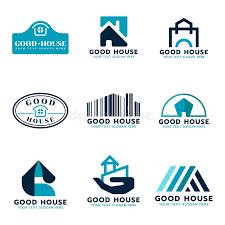 logo chambre scénographie de vecteur de logo de chambre ton bleu et bleu foncé