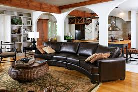 Black Leather Couch Decorating Ideas by Breathtaking Curved Leather Sectional Sofa Decorating Ideas Images