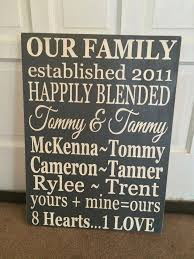 Personalized Wall Art Blended Family Wood Sign Decor Home Wedding Gift Custom Hanging