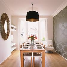 Grey Statement Wallpaper Dining Room