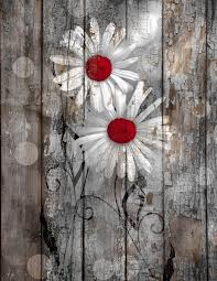 Red Brown Rustic Daisy Flowers Farmhouse Wall Art Home Decor Blue Gray