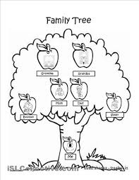Family Tree Coloring Page Worksheet