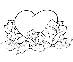 Heart With Roses Coloring Pages