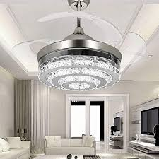COLORLED 3 Circle Diamond Crystal Ceiling Fans With Lights Retractable 4 Blade Remote Control