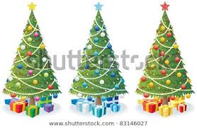 Cartoon Illustration Of Christmas Tree In 3 Color Versions