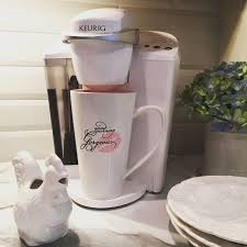 Instagram User Homeonfernhill Adds A Touch Of White To Her Kitchen With Keurig Brewer How Have You Set Up Your Coffee Corner