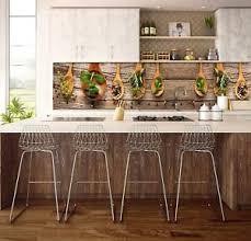 details zu küche vlies fototapete kräuter gewürze kochlöffel holzoptik tapete 250x60