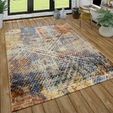 wohnzimmer teppich kurzflor im used look modernes design in bunt grösse 160x220 cm