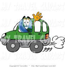 Clipart Of A World Earth Globe Mascot Cartoon Character Driving Green Car And Waving