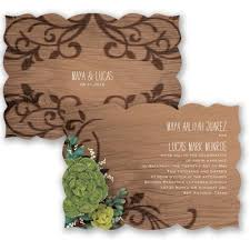 Southwest Inspired Wedding Invitation Two Sided Wood Grain Rustic At Invitations By Davids Bridal