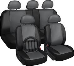 Amazon.com: OxGord 17pc Faux Leather Gray/ Black Car Seat Covers Set ... Katzkin Leather Seat Covers And Heaters Photo Image Gallery Unique Silverado 1500 Camo Green Cover Big Truck 2 Amazoncom Oxgord 17pc Faux Gray Black Car Set Waterproof For Your Four Best Materials Microsuede By Saddleman Luxury Innx Op902001 Quilted Dog With Non Slip Geometric Patternplumcar Coversauto Coverssuv Clemson Tigersclemson Footballauto Mesh Full Auto Masque Prym1 Custom For Trucks Suvs Covercraft Bestfh 4 Headrests Sedan Suv