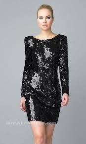 long sleeve sequin dress black