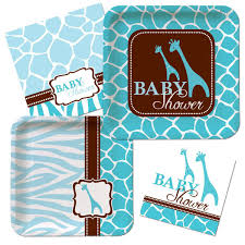Wild Safari Blue Baby Shower Plate Napkin Animal Print Baby