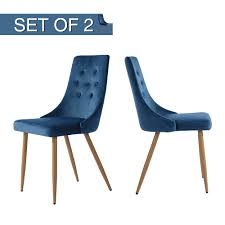GreenForest Velvet Dining Chairs Set Of 2, Mid-Century Modern Kitchen  Chairs High Back Upholstered Leisure Side Chairs, Navy Blue Navy Ding Room Chairs Beautiful Blue Upholstered Popular Turquoise Pascal Chair Set Of 2 Gingko Home Abbyson Sierra Tufted Velvet Wingback Adriani Of Wooden Leather Fabric John Lewis Ivory Homepop Classic Parsons Geo Brights Homepop K6805f2088 The Sofia Traditional With Natural Finish Partners Audley Covers Ghost