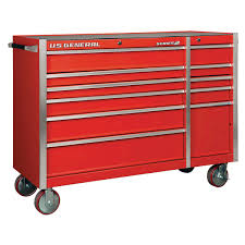 56 In. Double Bank Red Roller Cabinet
