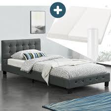 polsterbett manresa 90 x 200 cm bett mit lattenrost matratze und kopfteil komplett set zeitloses modernes design grau artlife
