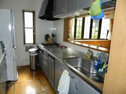 Modern Japanese Kitchen Design Woden Floor White Refrigerator Stainless Steel Countertop Sink Faucet Grey Cabinet