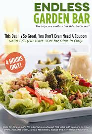 Ruby Tuesday: $5 Endless Garden Bar 2/20 | BisMan Cheapskate Ruby Tuesday Of Minot Posts North Dakota Menu Free Birthday Treat At Restaurant Giftout Olive Garden Coupons Coupon Code Promo Codes January 20 Appetizer With Entree Purchase Via Savvy Spending Tuesdays B1g1 Free Burger Coupon On 3 Frigidaire Filter Code Vnyl Amtrak Codes April 2018 Tj Maxx Wwwrubytuesdaycomsurvey Win Validation To Kfc Cup Tea Save Gift Cards For Fathers Day Flash Sale Burger Minis 213 5 From 11