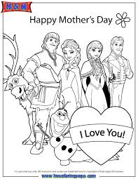 All Disney Frozen Characters Happy Mothers Day Coloring Page