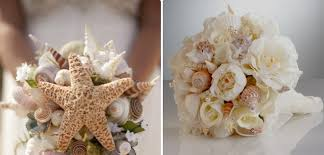Beach Wedding Bouquet White Peony Flowers Sea Snails Shells Starfish