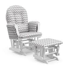 Storkcraft Hoop Custom Glider And Ottoman, White/Gray Chevron ...