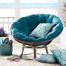 FurnitureBeautiful Blue Papasan Chair Feat Square Cushions On White Fluffy Fur Rug Beautiful
