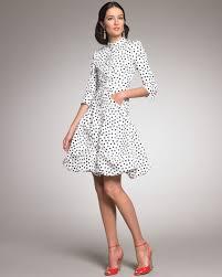 oscar de la renta polka dot coat dress in white lyst