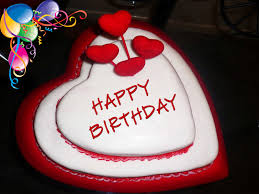 Happy Birthday in Heart Shape Cake HD Wallpapers