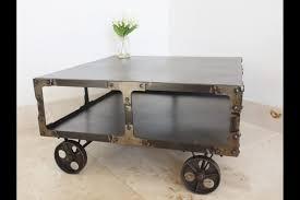 Industrial Coffee Table Trolley On Wheels 35x68x68cm Somerset