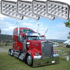 2pairs LED Rectangular Headlights Hi/Lo Beam Headlamp Kenworth W900 ...