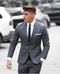 Mens Grey Suit White Dress Shirt Black Tie Pocket Square