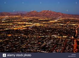 aerial dusk view of mountains las vegas suburban residential areas