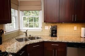 Kitchen Backsplash Ideas With Dark Oak Cabinets by Kitchen White Subway Tile Backsplash Designs With Double Corner