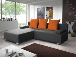 ecksofa sofa mit schlaffunktion grau orange ottomane links