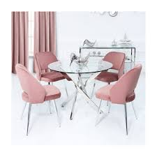 Round Glass Dining Table & 4 Pink Velvet Chairs - Aurora Boutique