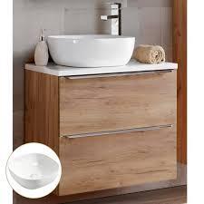 lomadox waschtisch toskana 56 waschtisch unterschrank 60cm mit keramikbecken in wotaneiche mit weiß hochglanz b h t ca 61 74 5 46 cm