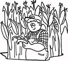 Farmer At His Corn Field Colouring Page