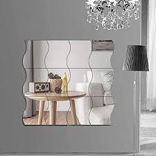 runfa spiegel wandaufkleber spiegelfliesen wandspiegel selbstklebend 12 stück wellenform spiegel silber wandbild für zuhause wohnzimmer